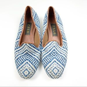 Zalo Blue Printed Tapestry Slip On Flat Shoes 9